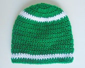 Infant  Green  Hat With White Stripes St. Patrick's Day  Baby Boy Fall Cap 9 Months To 2 Years Old  Girl  Winter Beanie  Toddler Skullcap