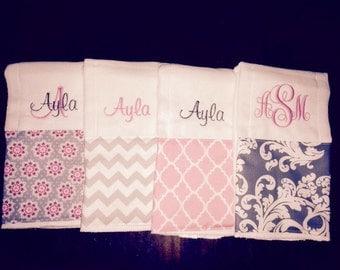 Little girl burp cloth set of 4