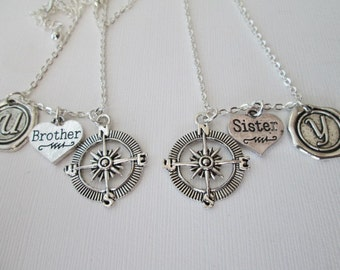 Brother and sister Gift, Compass Initial Necklace (set)