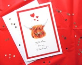 """Highland Cow Valentines Card. 'Will Moo be my Valentine?' Can be Personalised. Handmade 5"""" x 7"""" card with envelope."""