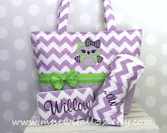 XL Quilted Purple / Lavender Chevron / Zig Zag / Owl Applique Diaper Bag Set - Changing Pad - Wipes Case