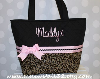 XL Pink and Leopard Print Quilted Purse / Tote / Diaper Bag