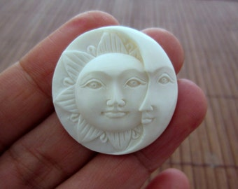 30 mm Hand carved Sun Face  and Crescent Moon Cabochon, Face Cabochon, Embellishment  B4370