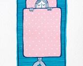 Sleep to Dream - Sleeping Baby Mermaid - Original Screen Print - Water based inks - Limited edition