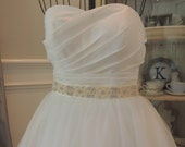 Trim for Rhinestone Wedding Gown Belt. Crystal and Bead Bridal Sash. Rose Gold, Bright Gold, Ivory Cream Color.