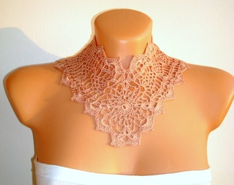 Handmade detachable Pale Pink Floral dress collar Lace crochet jewelry collier Peter Pan Victorian collar Summer Fashion Womens accessories