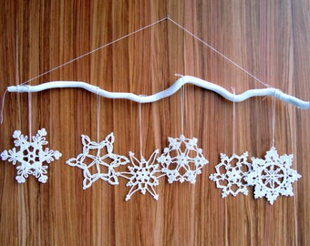 12 Crochet white handmade Christmas snowflakes decoration miniature ornament Tree Holiday decor Gift idea Home decor Merry Christmas