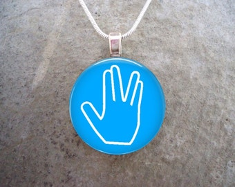 Star Trek Jewelry -  Live Long And Prosper - Glass Pendant Necklace - LLAP on Blue