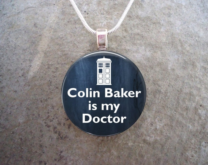 Doctor Who Jewelry - Colin Baker is my Doctor - Glass Pendant Necklace - RETIRING 2017