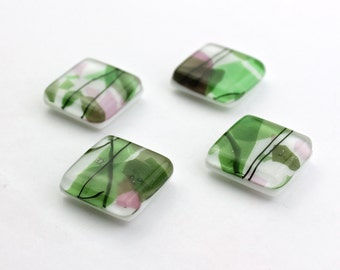 Pink, Green, and White Collage Fused Glass Magnets, Set of Four