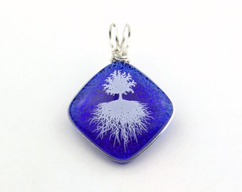 White Tree of Life on Dark Blue, Sterling Silver Wire Wrapped Dichroic Glass Pendant