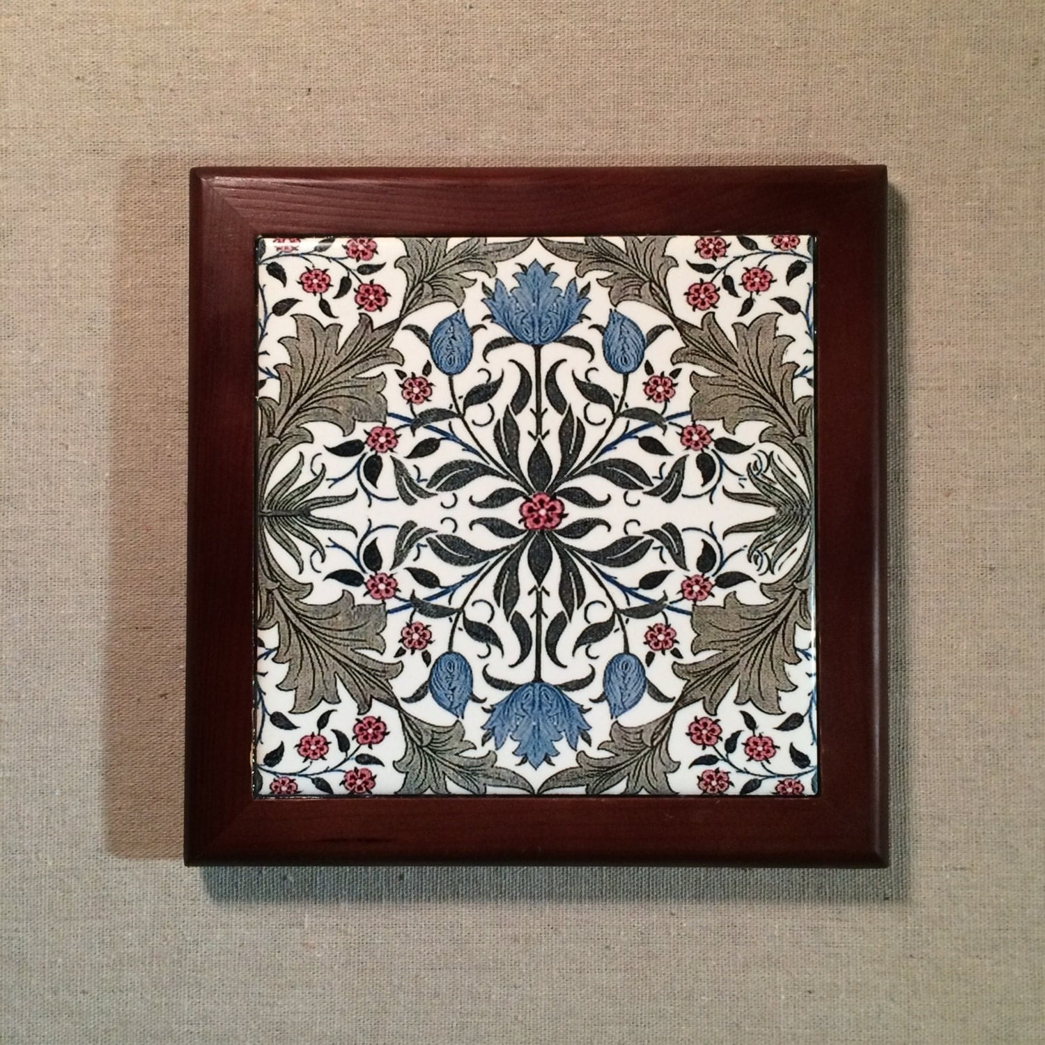 Tulip arts and crafts period design framed tile for Arts and crafts tiles