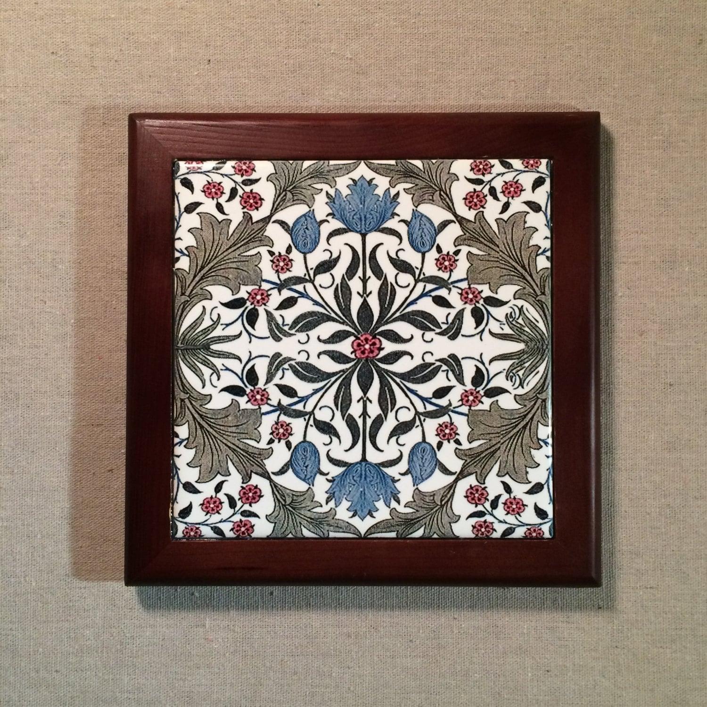 Tulip arts and crafts period design framed tile for Arts crafts tiles