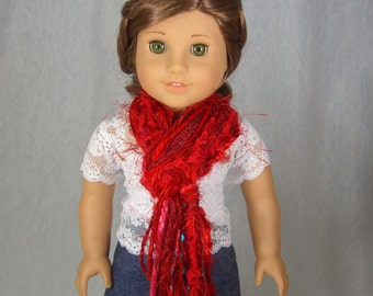 SKINNY STRING SCARF for American Girl Dolls - in pretty red novelty yarns - Perfect for Birthdays - Free Shipping to United States