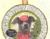 Italian Grey Hound | Greyhound Dog | Dog | Christmas Ornament | Vintage style