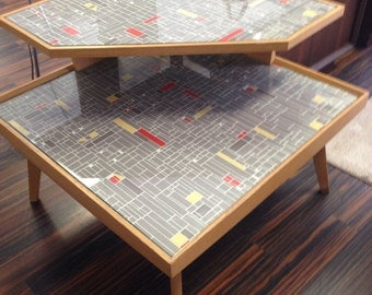 """Atomic corner table upscaled mid century retro space age look""""the Jetsons"""""""