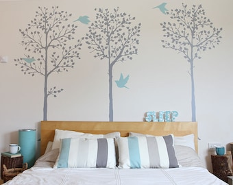Wall Stickers 3 Thin Trees Wall Decal // 75 x 170 cm each / 29 x 67 inches each