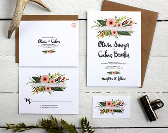 Whimsical Wedding Invitations - Unique Floral Design with Hand Lettered Modern Fonts - Custom Wedding Invite Cards, RSVP, Inserts, Envelopes