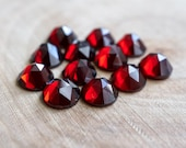 SALE 6mm Garnet faceted cabochon. red gemstone garnet cab rose cut cab low profile