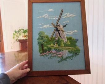 Vintage windmill crewel, needlework piece, landscape print