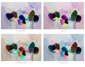 LARGE Medium Poster Giclée Print Abstract Modern Colorful Chic Trendy Minimalist Painting Artwork Wall Art Purple Blue Brown Drips Apartment