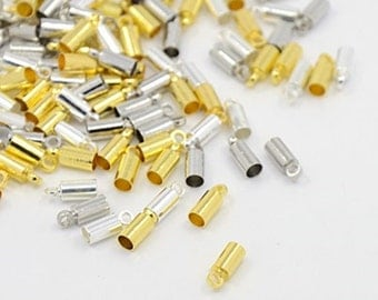 50pc 9x3.5mm mix color brass made cord end-9659