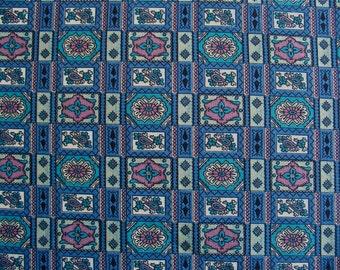 "Vintage Fabric Blue Tiny Geo Print 2 1/2 yd x 38"" wide"