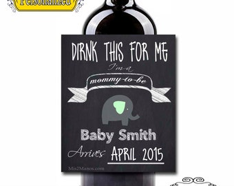 Custom Wine Labels - Pregnancy Announcement! (Personalized) Chalkboard Set of 6