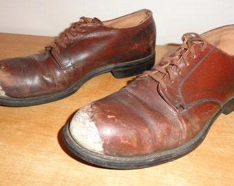 Men's Vintage Russet Brown Cowhide WWII Era Low Cut Steel Toe Shoes Sz-7