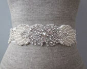 Art Deco Pearl, Rhinestone & Silver Beaded Wedding Sash / Belt, Vintage Inspired Sash