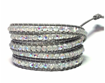 Grey Leather Wrap Bracelet - Crystal Beads On Grey Leather