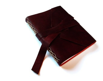 Leather Journal with Lined Pages and Double Wrap Tie in Marsala/Wine