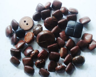 Real Leather Buttons - 45 Chocolate Brown Leather Buttons - Vintage Square Leather Buttons - Genuine Leather Buttons