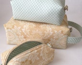 Box Bags, Beige and Blue, Cosmetic Bags, Travel Bags, Accessory Bags