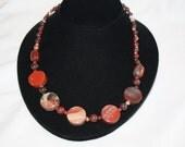 Gemstone Necklace  Jasper Natural Stone 1970s Jewelry