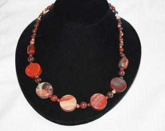 Vintage Gemstone Necklace,  Jasper Natural Stone 1970s Jewelry