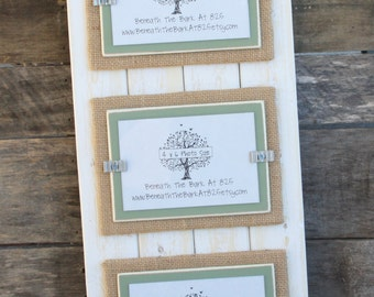 Picture Frame - Distressed Wood - Holds 3 - 4x6 Photos - Double Mats - White, Burlap & Sage Green