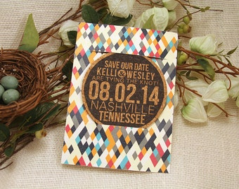 Cork Drink Coaster Geometric Save the Date with Envelope- Get Started Deposit