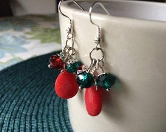 Red Teardrop and Crystal Earrings - Red and Green Earrings