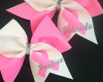 Full Glitter Breast Cancer Awareness Cheer Bow with Name