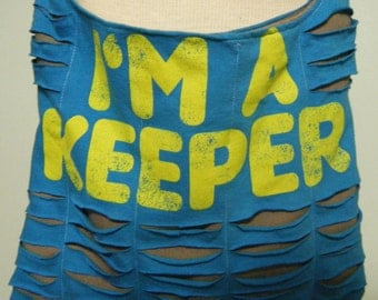 I'm a Keeper Upcycled/Recycled Tshirt Cross Body Bag