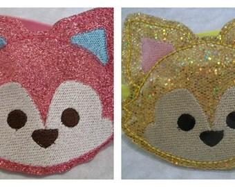 Child's Stretchy Headband Slider - Foxy Fox - glitter - Pink or Yellow embroidered Headband