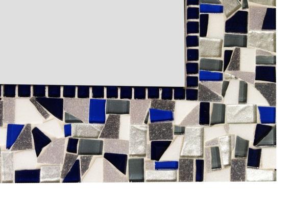 Mosaic Wall Mirror In Navy Silver Gray