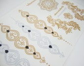 The Lucia Set - Metallic Tattoos - Silver Gold Temporary Tattoos - Large Set