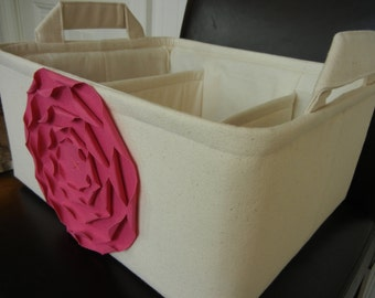 """LG Diaper Caddy(choose Lining Rose colors)12""""x10""""x6"""" Two Dividers-Fabric Storage Organizer-Baby Gift-"""" Hot Pink ROSE on Cream/Natural"""""""