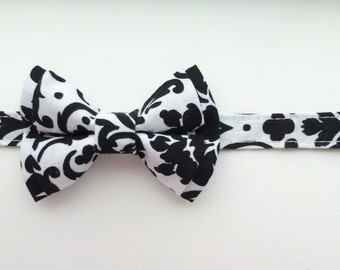 Little boy bow tie, Damask bow tie, black and white bow tie, Christmas bow tie, Holiday bow tie, wedding bow tie, black damask bow tie