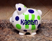 Large Personalized Ceramic Piggy Bank With Initial