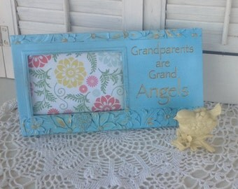 GRANDPARENTS are GRAND ANGELS Picture Frame / Aqua Blue 4 x 6 / Cottage White Picture Frame with Etched Phrase