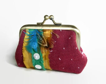 Handmade Mixed Media Coin Purse. Embroidered panel. Floral Pattern. Burgundy Purse. Feathers. Beads. ooak