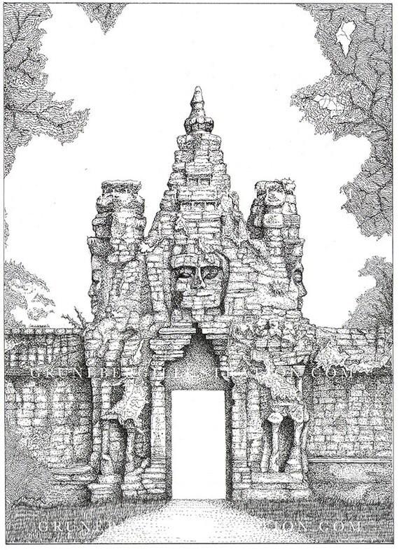Cambodia Angkor Wat Drawing Angkor Wat Cambodia Original